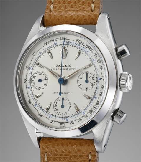 An attractive, rare and well preserved stainless steel chronograph wristwatch