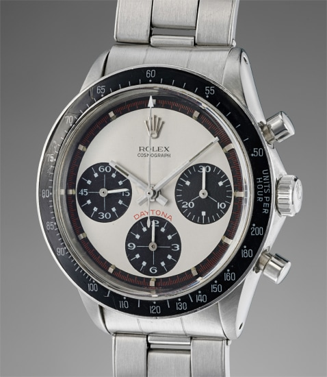 """A fine and extremely rare stainless steel chronograph wristwatch with """"Paul Newman"""" dial and bracelet"""