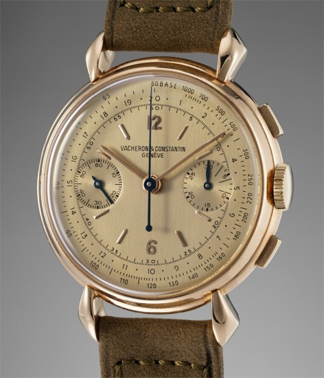 A rare and attractive pink gold chronograph wristwatch with champagne dial and tachymeter scale