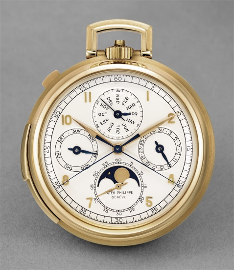 A highly rare and attractive yellow gold minute repeating perpetual calendar openface pocketwatch with split seconds chronograph and moonphases