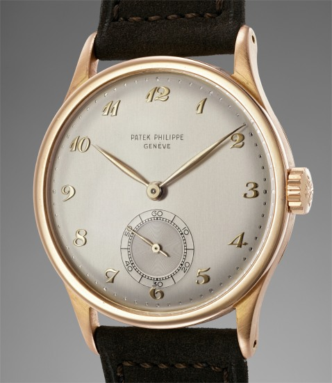 A rare, large and attractive pink gold wristwatch with Breguet numerals