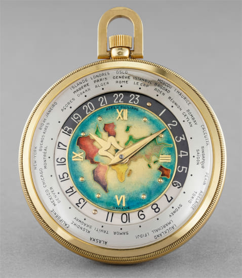 """A highly important and extremely rare yellow gold open face world time pocketwatch with """"World Map"""" polychrome cloisonné enamel dial"""