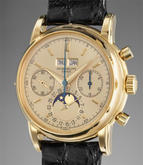 04322f613d An extremely attractive and most probably unique yellow gold perpetual  calendar chronograph wristwatch with moonphases