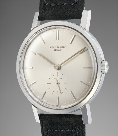 A rare and attractive stainless steel wristwatch with subsidiary seconds, retailed by Beyer