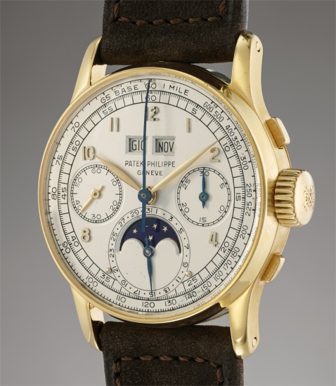 A very attractive and extremely rare yellow gold perpetual calendar chronograph wristwatch with moonphases