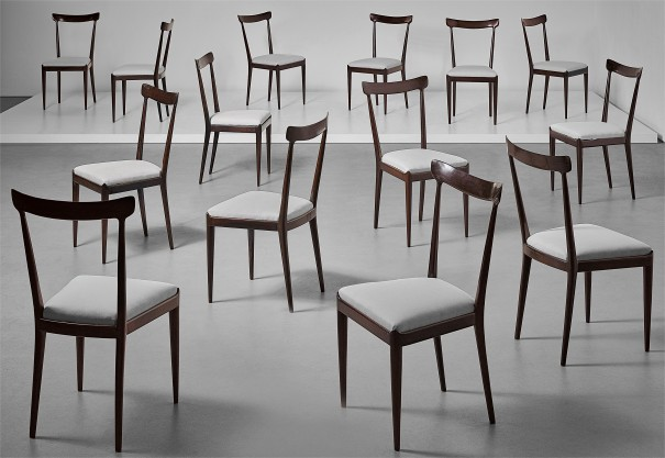 Set of fourteen dining chairs
