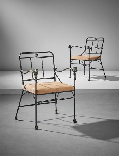 Pair of 'Têtes de Lionnes' armchairs, second version