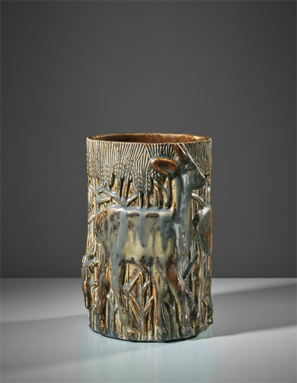 Rare 'Three Deers in a Cornfield' vase