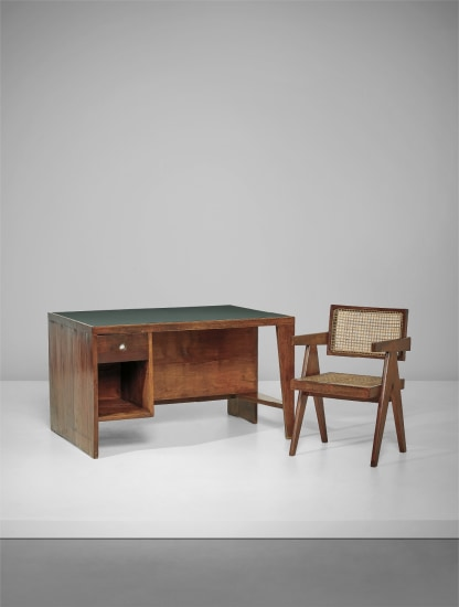 'Office table' desk with bookcase, model no. PJ-BU-02-A and 'Office Cane Chair', model no. PJ-SI-28-A, designed for the Secretariat and administrative buildings, Chandigarh