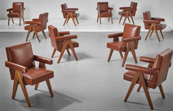 Set of ten 'Committee' armchairs, model no. PJ-SI-30-A, designed for the High Court, the Assembly and Punjab University administrative buildings, Chandigarh