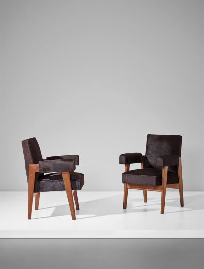 Pair of 'Advocate and Press' armchairs, model no. LC/PJ-SI-41-A, designed for the High Court, Chandigarh