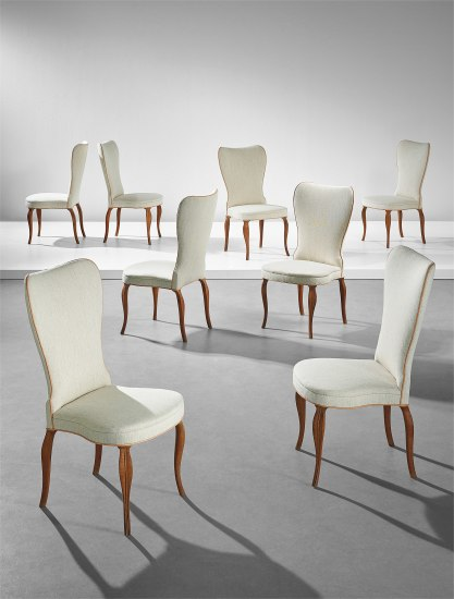 Rare set of eight dining chairs, designed for a private commission, Copenhagen