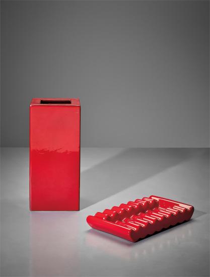 Vase, model no. 584, from the 'Ceramiche a colaggio' series, and dish, model no. 631, from the 'Onde' series