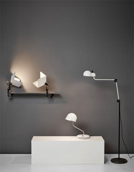 Pair of 'Triedro' clamp lamps, 'Topo' standard lamp, and 'Elmo' desk lamp