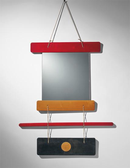 Composizione di elementi di legno colorato e specchio, il tutto unito da funi di canapa, designed for Galleria Arform, Milan