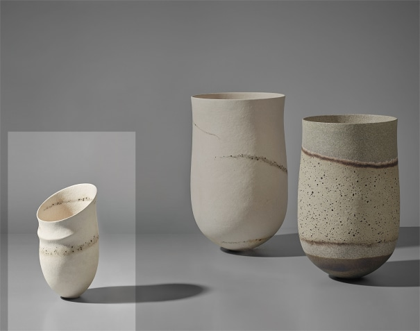 'Pale, tilted rim, asymmetric, ridge, speckled bands' pot