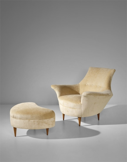 Armchair and ottoman, designed for a private commission, Milan