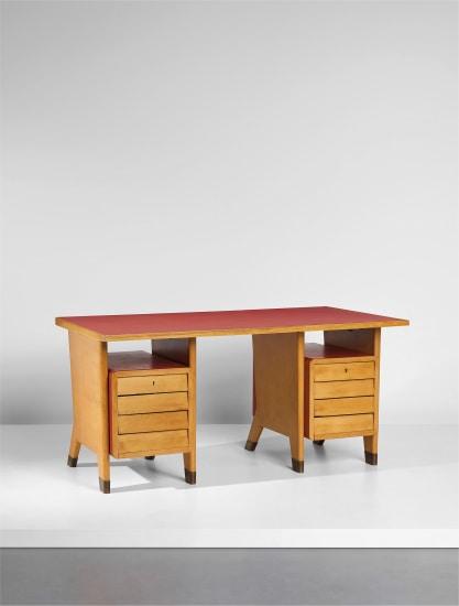 Double-pedestal desk, designed for the public administration offices, Forlí