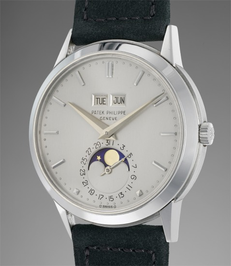An exceptional, unique and well preserved platinum perpetual calendar wristwatch with moonphases