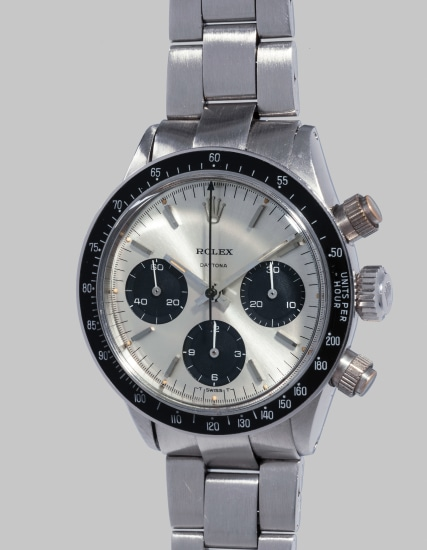 An extremely rare, very attractive and possibly unique stainless steel chronograph wristwatch with bracelet