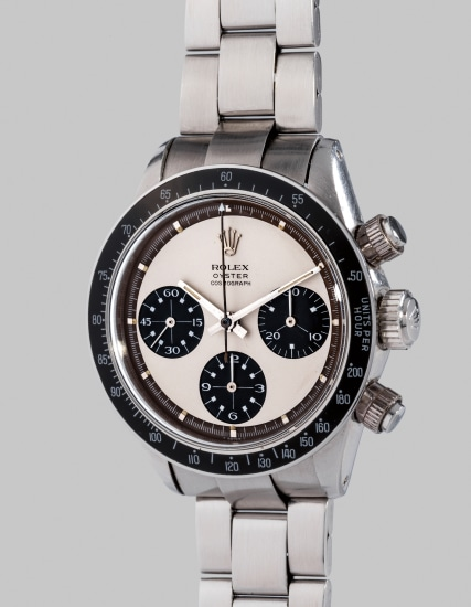 "A fine, extremely rare and very attractive stainless steel chronograph wristwatch with ""tropical"" mocha-colored outer minute track, bracelet and box"
