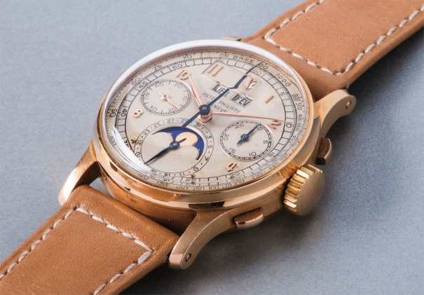 An extremely rare, highly attractive and historically important pink gold perpetual calendar chronograph wristwatch with moon phases and tachymeter scale, presented to H.H. Windsor Jr.