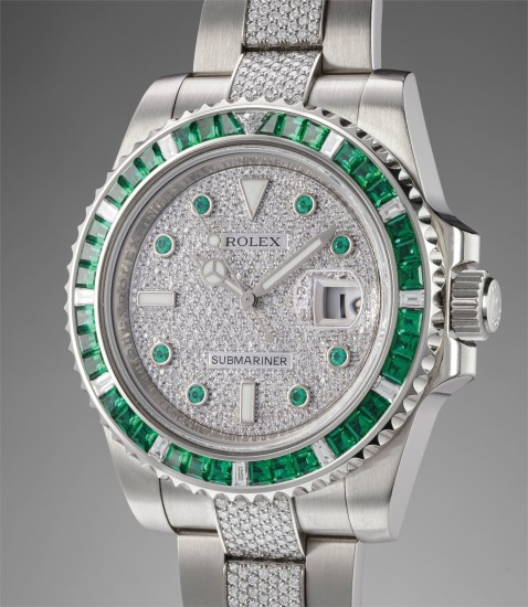 9ee3291730a Rolex - An extremely rare and attractive white gold, emerald and ...