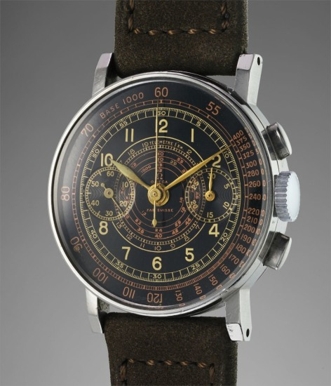 A rare and attractive stainless steel chronograph wristwatch with black multi-scale dial and angled lugs