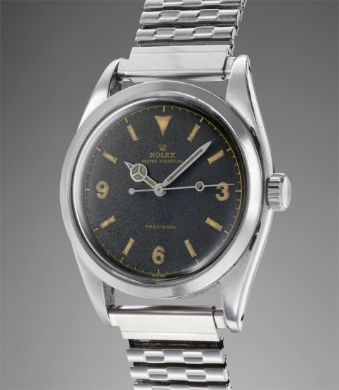"""An attractive and historically important wristwatch with centre, seconds, black lacquer """"explorer"""" dial and bracelet, worn on the 1955 Kanchenjunga Expedition by George Band"""