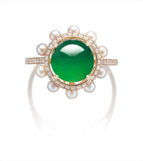 A Jadeite Cabochon, Seed Pearl and Diamond Ring