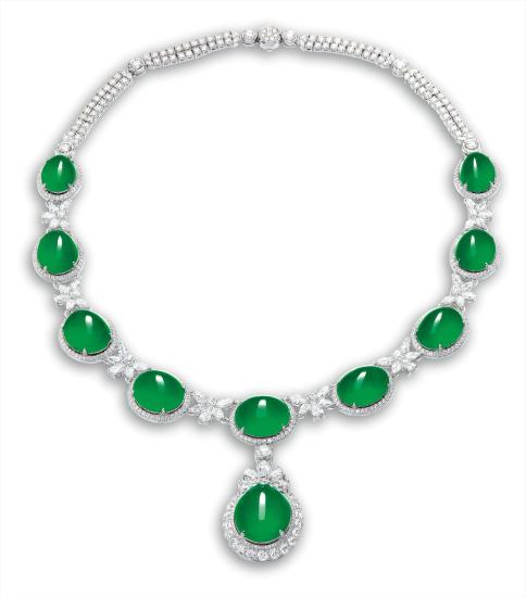 A Fine Jadeite Cabochon and Diamond Necklace