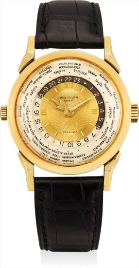 A superlative, highly important and extremely rare gold world-time wristwatch with engine turned dial