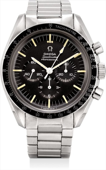 A rare stainless steel chronograph wristwatch with bracelet, guarantee and fitted presentation box