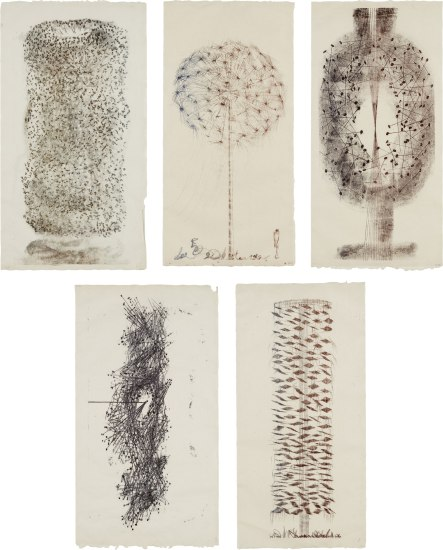 Group of five Untitled monotypes