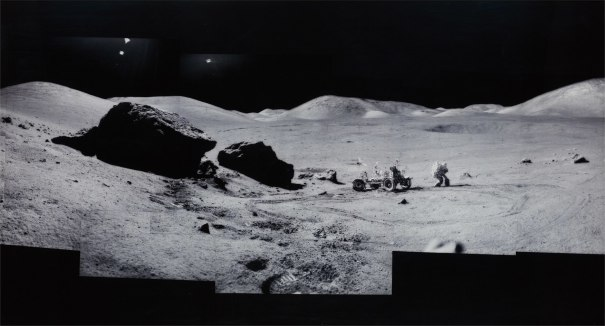 "Composite of Eugene Cernan and the Lunar Rover at ""Split Rock"", Photographed by Harrison Scmitt, Apollo 17, December 7-19, 1972, from the project Full Moon"