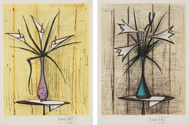 Arums, fond jaune (Arums, Yellow Background); and Lys et iris (Lilies and Iris)