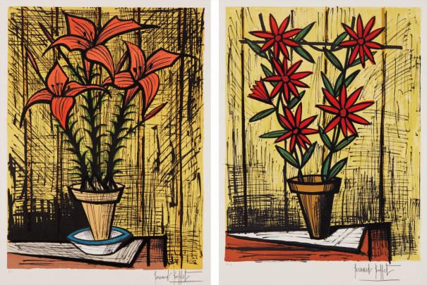 Marguerites rouges (Red Daisies), and Fleurs oranges dans un pot (Orange Flowers in a Pot)
