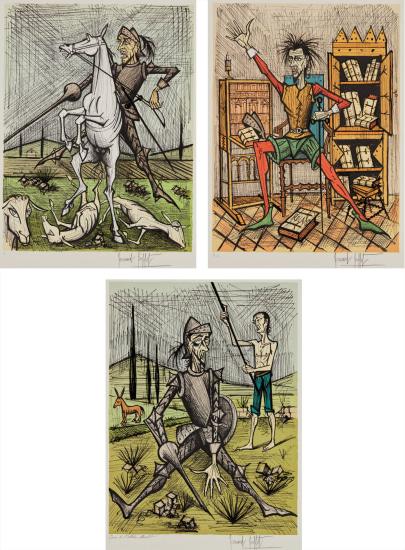 Don Quixote recontre avec les muletiers (Don Quixote with the Mule Drivers); Don Quixote dans la bibliotheque II (Don Quixote in Library II); and Don Quixote et les moutons (Don Quixote and the Sheep)