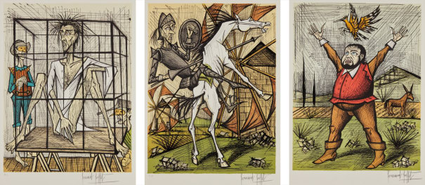 Don Quixote et les moulins (Don Quixote and the Mills); Sancho Panza et la huppe (Sancho Panza and the Hoopoe); and Don Quixote en cage (Don Quixote in a Cage), from Don Quixote