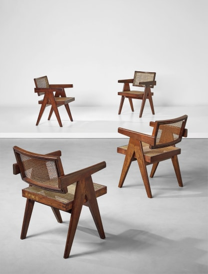 "Set of four ""Office"" armchairs, model no. PJ-SI-28-A, designed for the Architects Office, Secrétariat, and administrative buildings, Chandigarh"