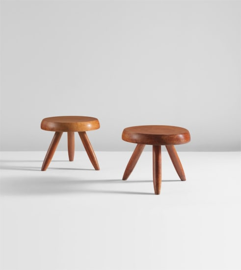 Pair of low tripod stools