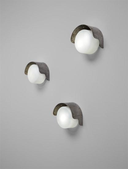 Rare set of three wall lights, designed for the Jylhämä hydroelectric power plant, Vaala