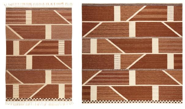 "Two ""Korsvirke brun"" rugs"