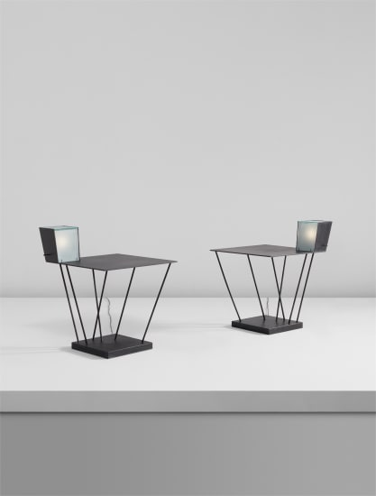 Pair of side tables with integrated lamps, from Museum Tower, New York