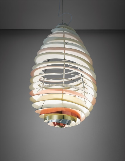 """Rare """"Spiral"""" ceiling light, designed for the Headquarters Assembly Hall, Danish Consumers Cooperative Society, Albertslund"""