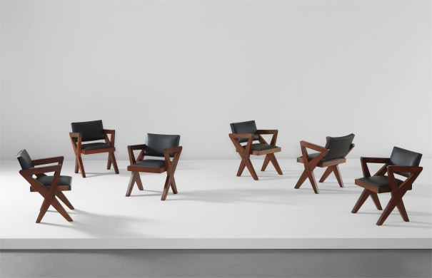"""Set of six """"Showroom"""" armchairs, model no. PJ-SI-49-A, possibly designed for the Tagore Theater, Punjab University, Chandigarh"""