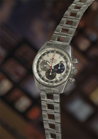 A very fine and rare stainless steel chronograph wristwatch with date, tachymeter scale, Gay Frères bracelet, guarantee, presentation box, and hang tag.