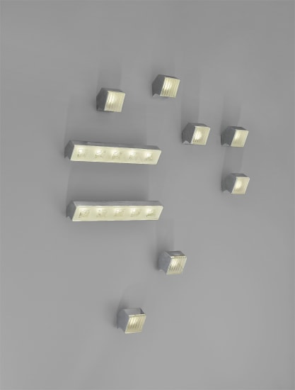 Set of seven wall lights, model no. 2140, and two, model no. 2139