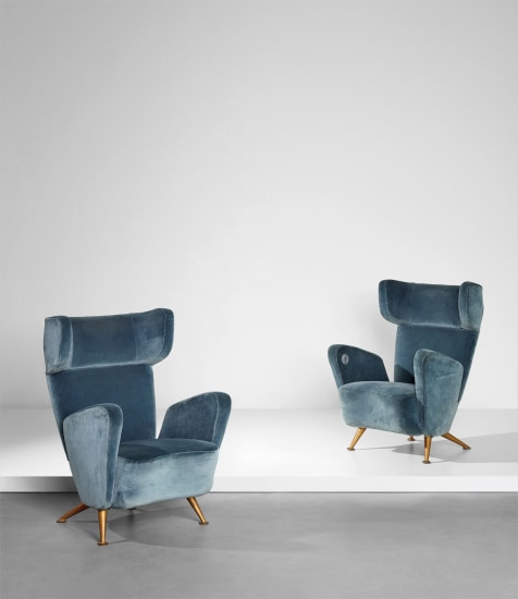 Pair of armchairs, from the First-Class carriages of the 'Settebello' ETR 300 train