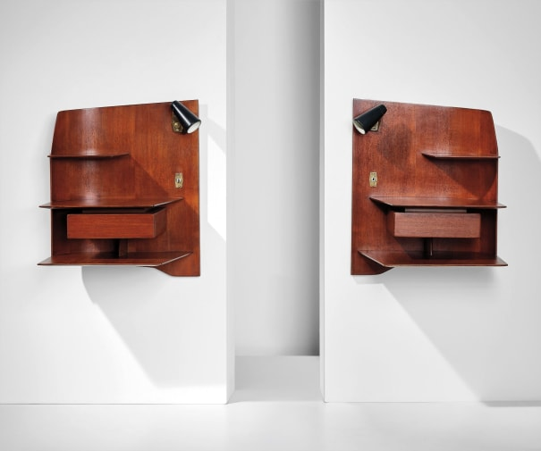Pair of wall-mounted illuminated bedside units